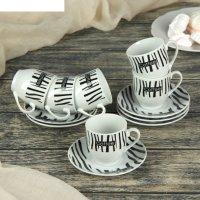 Сервиз кофейный 12 предметов ника чашка 80 мл, 7,2х5,3х5,7 см, блюдце d-10
