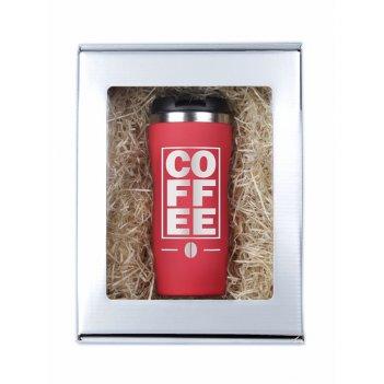 Термокружка coffee красная в подарочной упаковке