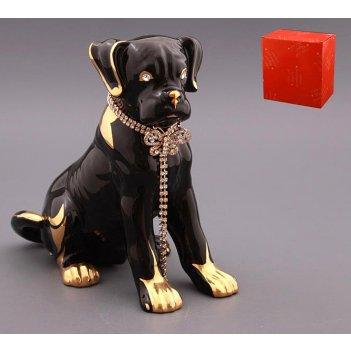 Фигурка собака черная с цепочкой 25*15 см. высот...