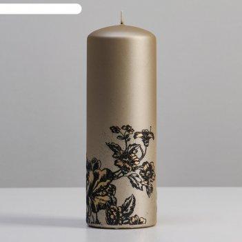 Свеча - цилиндр пионы, 7х20 см, шампань