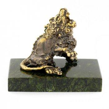 Статуэтка знак зодиака лев бронза змеевик