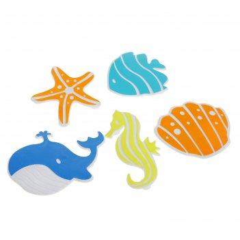 Набор мини-ковриков для ванны океан, 5 шт, цвет микс