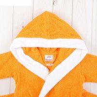 Халат махровый для девочки капюшон + комби/белый, цв. оранжевый, рост 98,