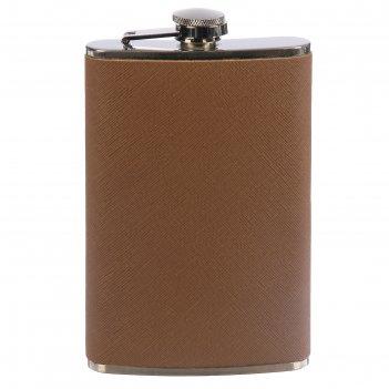Фляжка 10oz кожзам+металл, светло-коричневая, под джинсу, 9,5*16 см