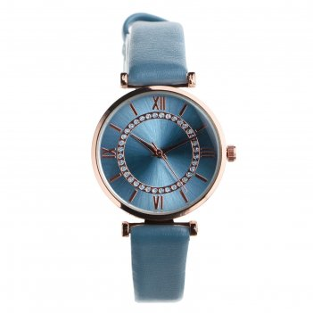 Часы наручные женские мелла, d=3 см, серый ремешок