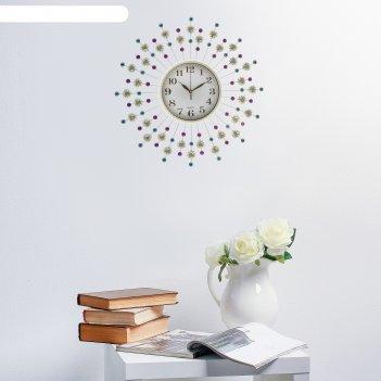 Часы настенные, серия: ажур, стрелы, d=60 см микс
