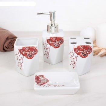 Набор для ванной роза 4 предмета (мыльница. дозатор для мыла, 2 стакана)