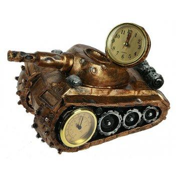 Часы-барометр танк настольные 26*17*18см