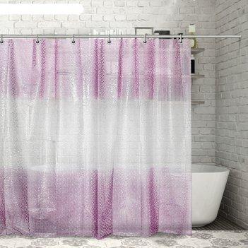 Штора для ванной 180x180 см диско 3d, eva, цвет розовый