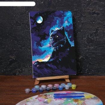 Картина по номерам на холсте с подрамником «пантера в ночи» 20х30 см