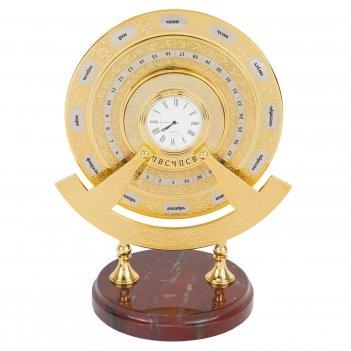Часы вечный календарь яшма латунь позолота 190х135х240 мм