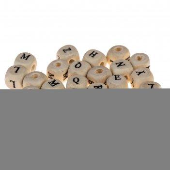 Бусины деревянные кубики c латиницей 10х10 мм (набор 25 шт)