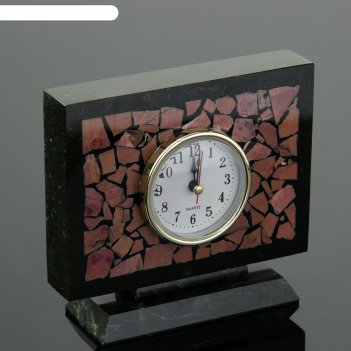 Часы настольные семафор, 15х5х13 см, змеевик, родонит