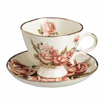 Чайный набор на 1 персону 2 пр.корейская роза 250 мл.(кор=48набор.)