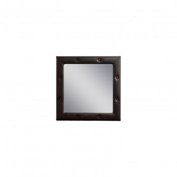Зеркало «алеро» квадратное, 85,5 х 85,5 см, экокожа, цвет коричневый