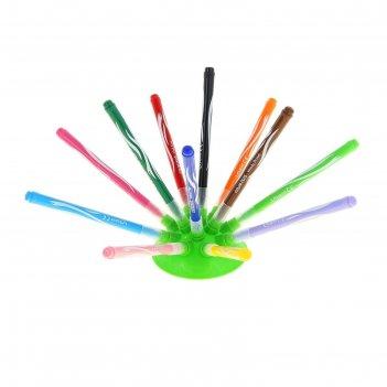 Фломастеры 12 цветов jungle innovation, утолщенные, смываемые, на подставк