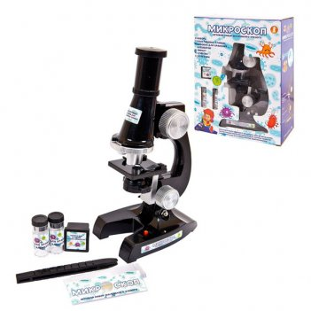 Микроскоп в наборе с аксессуарами, увеличение 100х, 200х, 400х, в коробке,