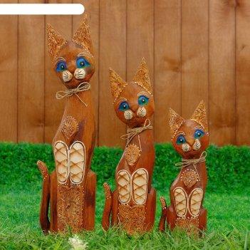Сувенир дерево кошки с ажурной резьбой набор 3 шт h=30, 40, 50 см