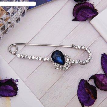 Булавка капля в стразах, 7,5 см, цвет синий в серебре