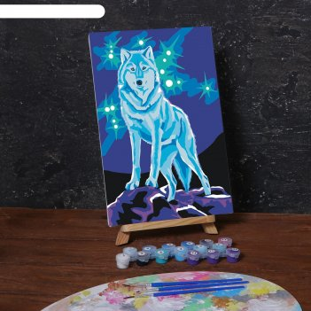 Картина по номерам на холсте с подрамником «волк» 20х30 см