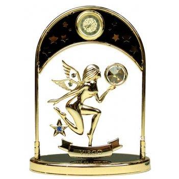 Фигурка декоративная с часами - знак зодиака дева 14см