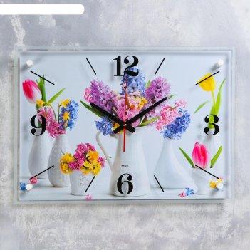 Часы настенные цветы в вазах 40х56 см, плавный ход