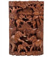 17-005 панно резное пирамида из слонов - символ долголетия (суар, о.бали)
