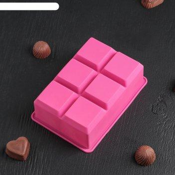 Форма для льда и шоколада 16,5x11,5 см «кубик», 6 ячеек (5x5x5 см), цвет м