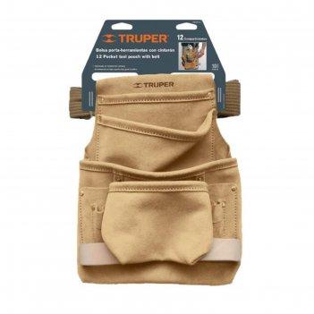 Поясная сумка для инструмента truper poca-12, кожа 1.8 мм, 12 отделений, 2