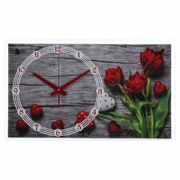 Часы настенные прямоугольные красные тюльпаны, 36х60 см