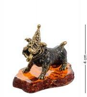 Am-1978 фигурка собака праздник (латунь, янтарь)