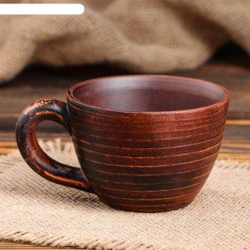 Чашка капучино красная глина