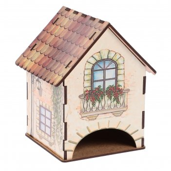 Чайный домик домик с цветами на балконе (лейка+лестница) 15х10х10 см