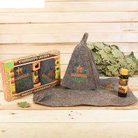 Набор банный банная гвардия шапка с вышивкой, коврик с вышивкой, ароматиза