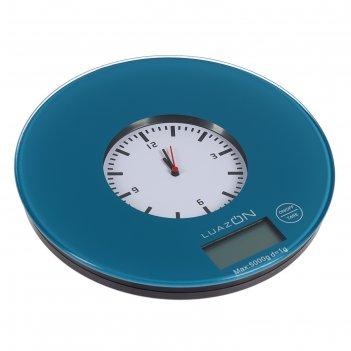 Весы кухонные luazon lvk-508, электронные, до 5 кг, встроенные часы, тёмно