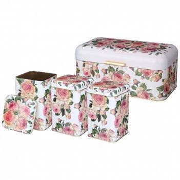 Набор agness винтаж.пионы хлебница 20,9*36,5*16,3 см, емкости для сыпучи