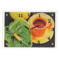 Часы настенные прямоугольные кофе и зеленый цветок, 25х35 см