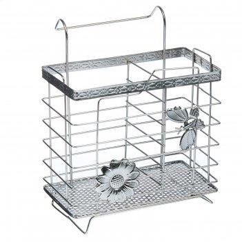 Сушилка для столовых приборов подвесная на ножках 15х11,5х17,5 см бабочки