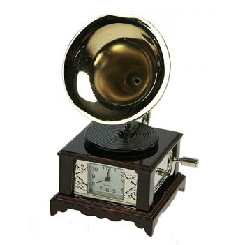 Часы настольные граммофон 5*5*9см