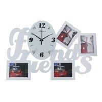 Часы настенные белые + 4 фоторамки друзья 9,5х11,5 см 39х3х58,5 см