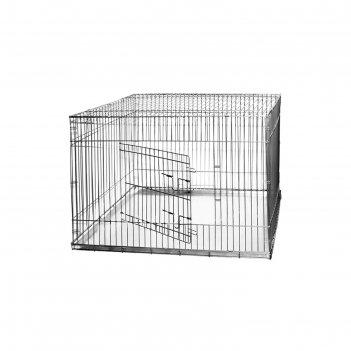 Клетка для собак с мет. поддоном, 120 х 80 х 80 см, шагрень светлое серебр