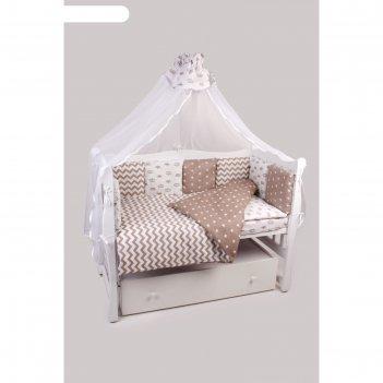 Комплект в кроватку royal baby, 18 предметов, бязь, коричневый