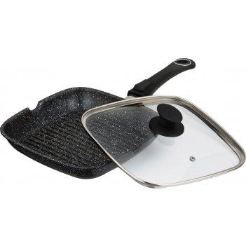Сковорода-гриль agness с крышкой и съемной ручкой 28*28 см высота=4 см (ко