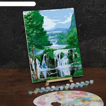 Картина по номерам на холсте с подрамником водопад 30*40 см