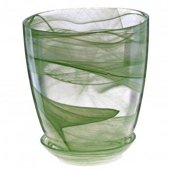 Горшок для цветов гармония №3 с поддоном, алебастр, 1,2 л, цвет зеленый