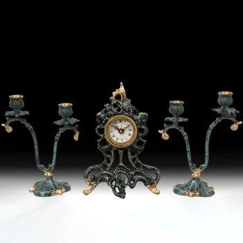 Часы настольные малые с канделябрами на 2 свечи, набор из 3 предм.