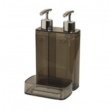 Дозатор для жидкого мыла с секцией для губки viva, цвет дымчатый