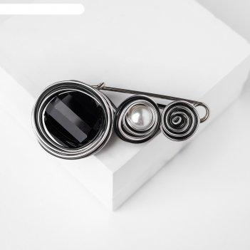 Булавка арабика орбиты, 6,5см, цвет бело-чёрный в серебре
