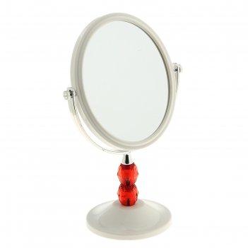 Зеркало настольное на ножке красный кристалл, овальное, цвет белый