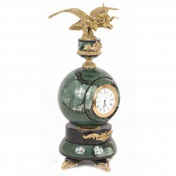 Часы двуглавый орел офиокальцит бронза 110х110х280 мм 2600 гр.